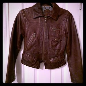 Small Brown Leather Banana Republic moto jacket